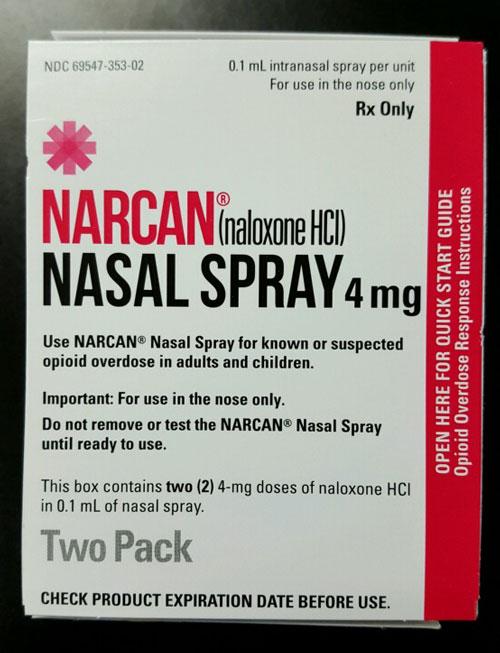 Narcan Nasal Spray, 4 mg box.